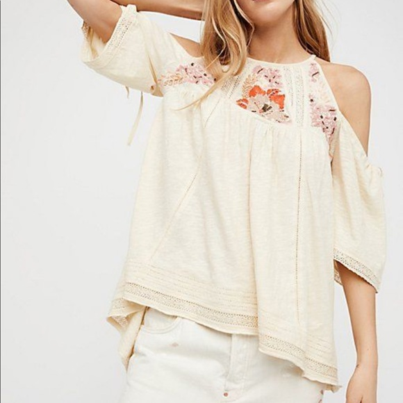c9a35f0e7d7c3 Free People Cold shoulder Embroidered Beaded Top